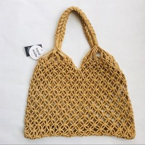 West Loop @ Hand Knotted Beach Tote Tan NWT